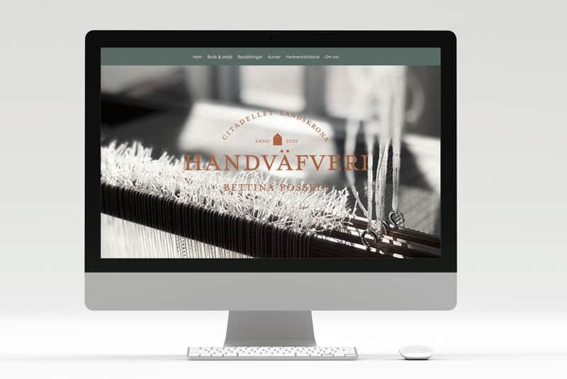 dataskärm med handväfveriets hemsida