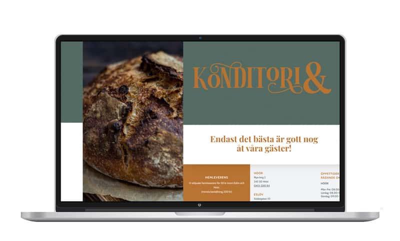 laptop med Konditori&s hemsida