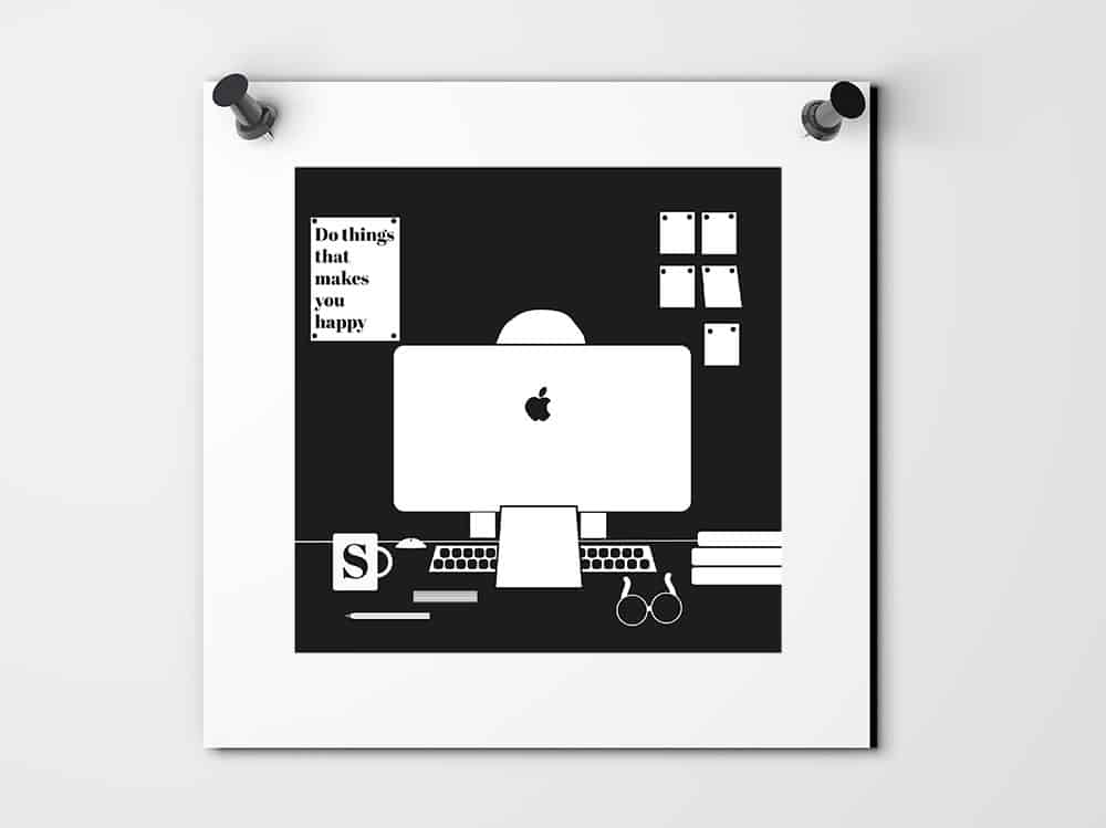 Blank white poster with a illustration pinned to a plain wall with pushpins